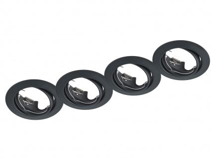 4 Einbaustrahler Decke rund schwenkbar Schwarz matt GU10 LED - Deckenbeleuchtung