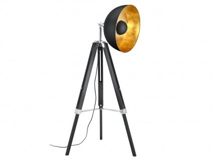Retro LED Dreibein Stehleuchte höhenverstellbar Schirm schwenkbar schwarz/gold - Vorschau 1