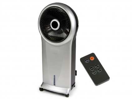 Standventilator mit Luftbefeuchter & Fernbedienung Wassertank + 2 Kühlakkus