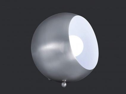 Kleine LED Tischleuchte rund aus Metall Lampenschirm in Nickel matt & innen Weiß