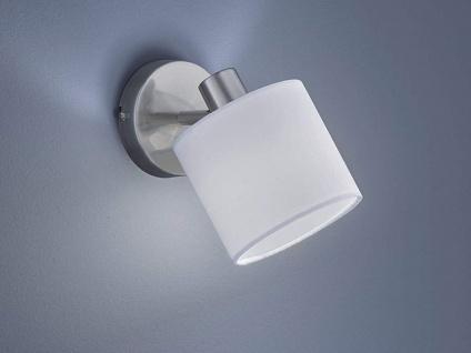 Moderner Wandspot mit Stoff Lampenschirm in Weiß schwenkbarer Wandstrahler Ø12cm
