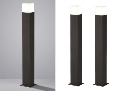 LED Pollerleuchte in Anthrazit 80cm - 2er Set Wegeleuchten Terrassenbeleuchtung