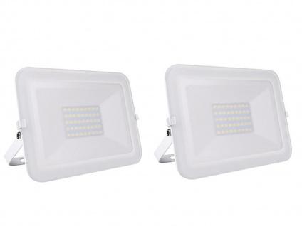 2er Set 30W LED Außenwandstrahler weiß mit Befestigungsbügel, flaches Design