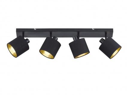 LED Deckenstrahler 4 flammig schwenkbar mit Stoffschirm in schwarz gold Wandspot - Vorschau 2
