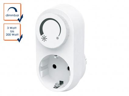 Steckdosendimmer / Dimmer-Adapter mit Drehschalter, 3-200 Watt