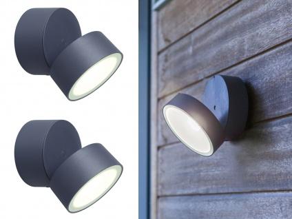 LED Außenwandlampen im 2er SET mit 90° drehbarem Kopf ALU Anthrazit, 15cm? groß