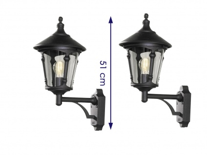 2er Set Konstsmide Außenwandleuchte VIRGO schwarz, Laterne Leuchte Hauswand E27 - Vorschau 2