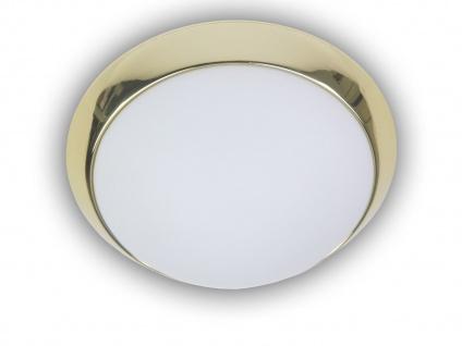 Deckenleuchte Opalglas Dekorring Messing poliert, Ø 25cm Büroleuchte Küchenlampe