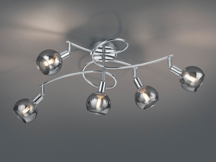 Mehrflammige LED Deckenleuchte Deckenstrahler mit Rauchglas für WohnzimmerLampen