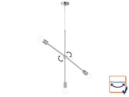 Retro Desing Pendelleuchte 3x LED Arm schwenkbar Nickel matt/Chrom für Esszimmer - Vorschau 2