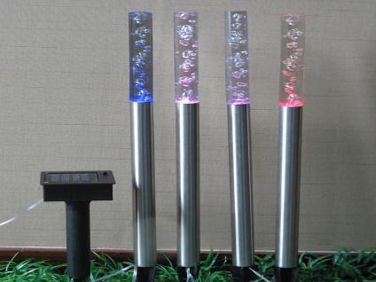 Farbwechsel LED Solarlichtstäbchen mit Luftblasen-Optik für den Garten, Erdspieß