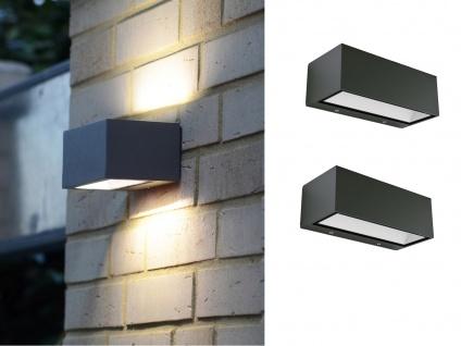 Hochwertige eckige LED Außenwandleuchten ALU Anthrazit Up and Down Lampen B.22cm