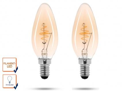 2x LED Leuchtmittel 3 Watt, 150 Lumen, 2000 Kelvin, E14-Sockel, Filament LED