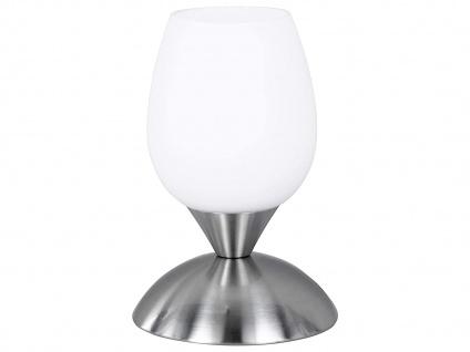 Tischleuchte Silber Glas Lampenschirm Weiß dimmbar per Touch, Ø12cm H18cm