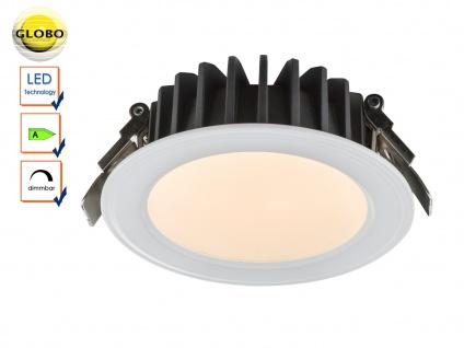 LED Einbaustrahler weiß, Einbauleuchte Ø 14cm, LED dimmbar, Glas, Globo
