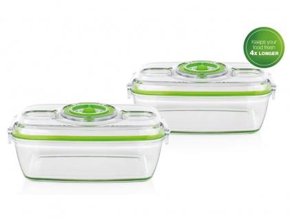 2x Lebensmittel & Flüssigkeiten Glasbehälter 1, 1 Liter für Princess Vakuumierer