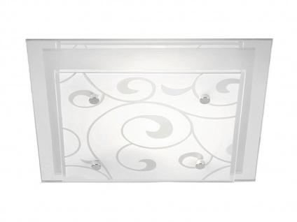 Eckige Deckenleuchte DIA mit 2 dimmbaren LEDs, Dekorglas satiniert, Metall weiß