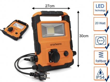 Klappbarer 20 Watt LED Baustrahler mit integrierter Steckdose - Arbeitsleuchte