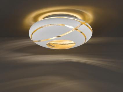Deckenlampe Ø50cm mit GLAS Lampenschirm in weiß/gold extravagantes Glasdesign