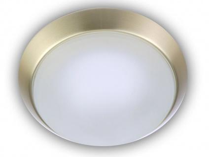 stilvolle Deckenleuchte Messing matt, Deckenlampe rund Glas satiniert, Ø 25cm