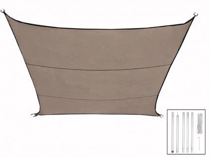 Sonnensegel Rechteckig 2x3m Braun mit Stangenset für Garten - Sonnenschutzsegel
