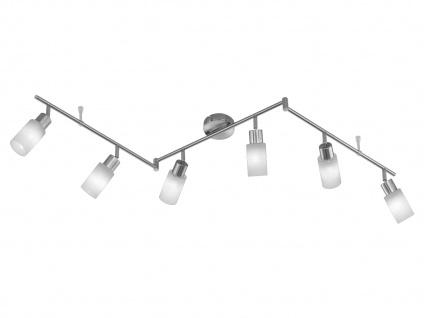 6-fl. Deckenschiene + LED-Leuchtmittel, Nickel / Glas, Trio-Leuchten