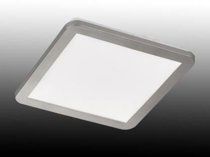 Dimmbare LED Deckenlampe aus Acrylglas & Nickel matt - IP44 Badlampe, viereckig