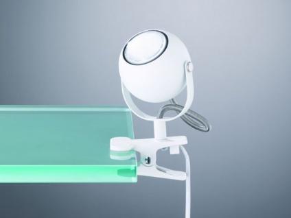 Schwenkbare LED Klemmleuchte Klammerleuchte Spot 1 flammig Metall in weiß matt