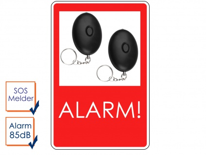 2er-Set Mini Taschenalarm Überfallalarm Notruf Personen-Alarm 85dB SOS