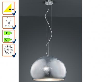 Pendelleuchte Hängeleuchte, Schirm Glas opal Silber 51cm, Lampe Esszimmer Trio
