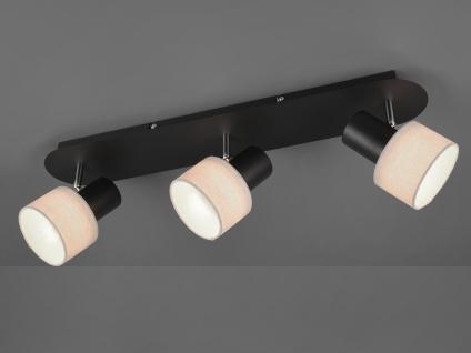 Design Deckenstrahler runde Lampenschirme Stoff 3 Spots schwenkbar Deckenlampen