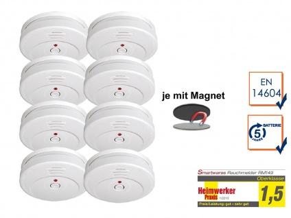 8er-SET Rauchmelder 5 Jahres Batterie TÜV geprüft + Magnetbefestigung Alarm