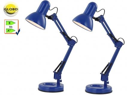 2x Globo Schreibtischlampe FAMOUS blau, beweglich, Lampe Leuchte Schreibtisch