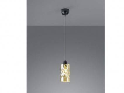 LED Pendelleuchte 1 flammig aus Metall mit Rauchglas in Amber für Esszimmer