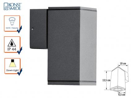 Aluminium Wandleuchte Wandlampe anthrazit GU10-Sockel H: 13, 5cm IP44 Außenlampe