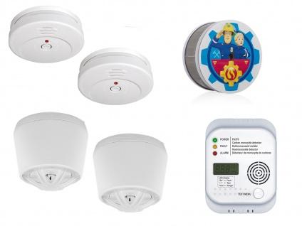 2-Raum-Wohnung Alarmset Rauch, Hitze, Kohlenmonoxid, Melder Wärme CO Brandschutz