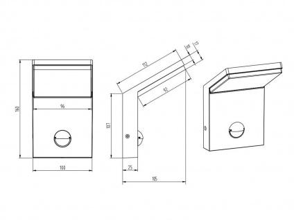 LED Außenwandlampe mit Bewegungsmelder Anthrazit 2 Außenleuchten Hausbeleuchtung - Vorschau 5