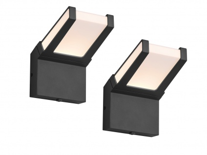 Moderne LED Außenleuchten im 2er SET - Clean Cut Wandlampen mit Dämmerungssensor