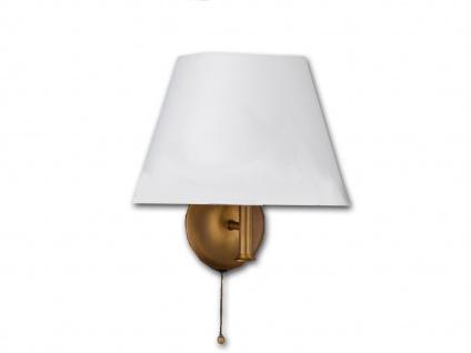 LED Wandleuchte mit Zugschalter & Stoff Lampenschirm in weiß - Wohnzimmerleuchte