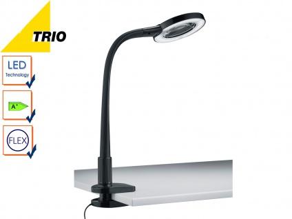 Trio LED Klemmleuchte Klammerleuchte LUPO schwarz mit Lupe, Schreibtischlampe