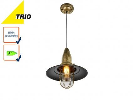 LED Hängelampe Messing Lampenschirm Glas 32cm, Retro Pendelleuchte Vintage