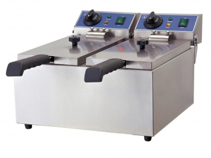 Gastro Doppel Fritteuse 2x 2000 Watt, Elektro Edelstahl Profi Fritteuse Friteuse - Vorschau 2