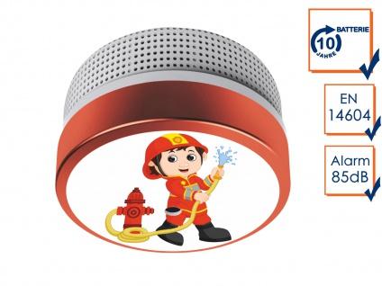 Mini Brandmelder mit Feuerwehrmann Bild 10 Jahres Batterie - Brandschutz Feuer