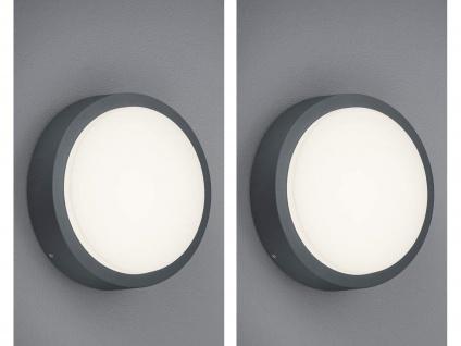 2er SET LED Wandleuchten aus ALU in anthrazit, Carport Beleuchtung IP54 Ø20cm