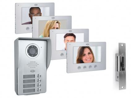 Mehrfamilienhaus Video Türgegensprechanlagenset mit 4 Farbmonitoren & Türöffner