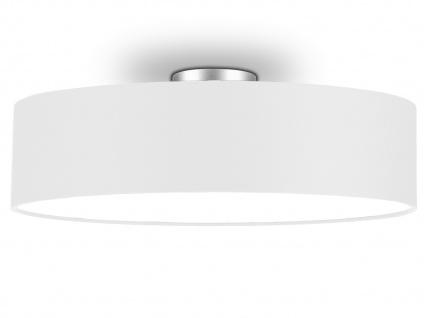 Deckenleuchte mit Stoff Lampenschirm Weiß 60cm Textil Deckenlampe Stoffschirm