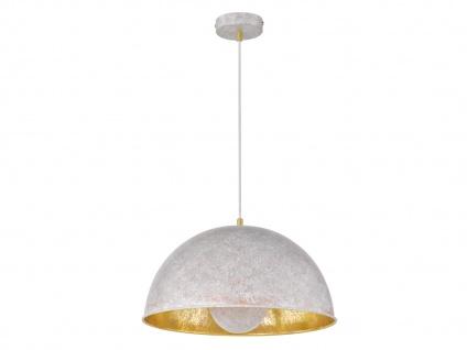 Retro Pendelleuchte mit Metall Schirm Betonoptik grau/Gold E27 - Esstischlampen