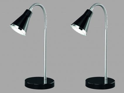 2er SET schöne LED Tischleuchte mit Schirm schwarz Schreibtischlampe mit Flexarm