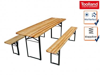 Bierzeltgarnitur aus Holz: Klapptisch 2 Meter mit Bänken, Gartenmöbel Partytisch
