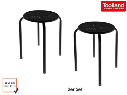 2er Set Hocker aus pulverbeschichtetem Stahl in schwarz, Sitzhocker Gartenhocker